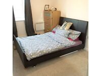 BLACK LEATHER DOUBLE BED FRAME