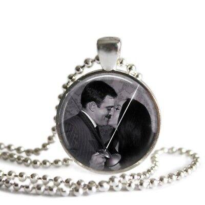 Addams Family Morticia and Gomez 1 Inch Silver Plated Pendant Necklace - Morticia Addams And Gomez Addams