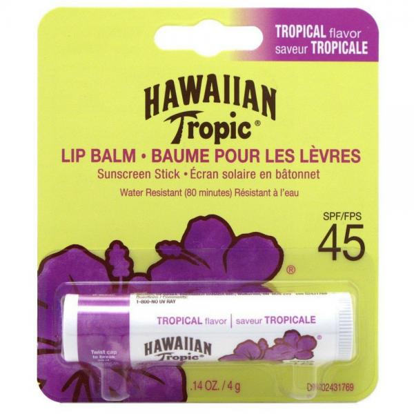 HAWAIIAN TROPIC SUNSCREEN LIP BALM STICK SPF 45 TROPICAL FLA