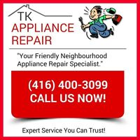 CHEAP APPLIANCE REPAIR! Licensed and Insured (416) 400-3099