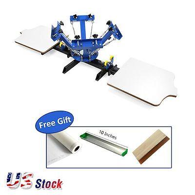 Usa Stock 4 Color 2 Station Silk Screen Printing Machine 4-2 Press Diy