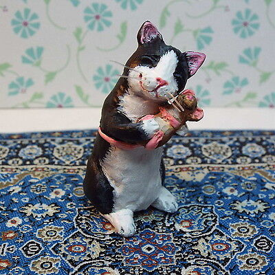 Dollhouse miniature tuxedo cat mouse hand sculpted original OOAK 1:12