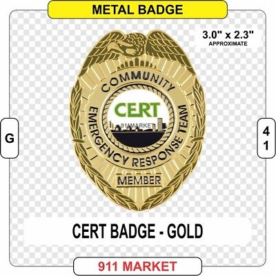 CERT Community Emergency First Responder Badge GOLD color Fire SAR Patch - G 41