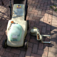 Neuton cordless lawnmower with battery and edging attachment