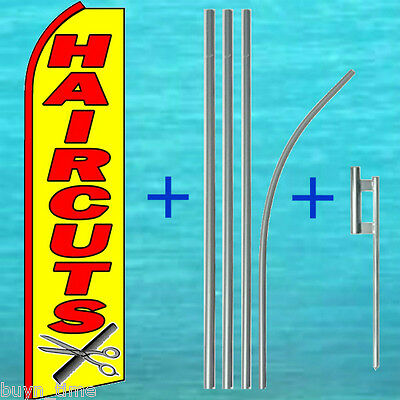 Hair Cuts Yel Flutter Feather Flag 15 Tall Pole Mount Kit Swooper Bow Banner
