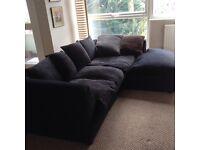 Black left hand corner sofa