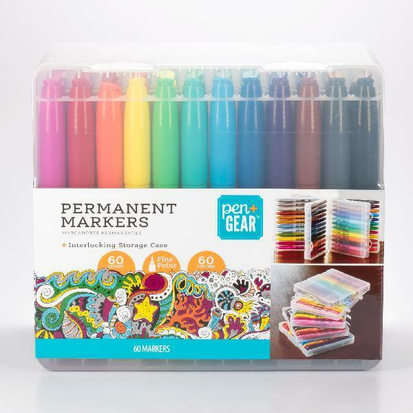 Pen Gear 60PK Permanent Markers in Plastic Case Fine Point Assorted 60 Colors
