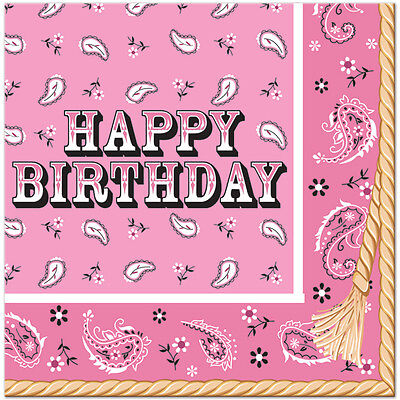 Pink Bandana Cowgirl Birthday Party Supplies Large Lunch Napkins