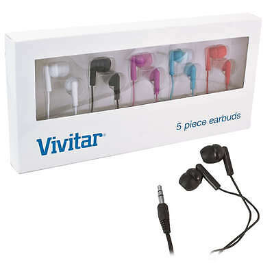 5-Pack: Vivitar Noise Isolating Earbud Headphones w/ Silicone Comfort Earbuds ''