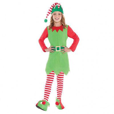 Wichtel Elf 5 tlg Kinder Gr. 134 Weihnachtself Kostüm Mädchen Weihnachtsmann (Weihnachten Elf Kostüm Kinder)