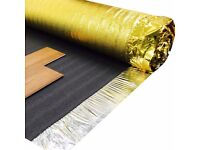Premium Quality GOLD thermal UNDERLAY for Laminate wood flooring, wooden floors, 6mm thick, Hamble,