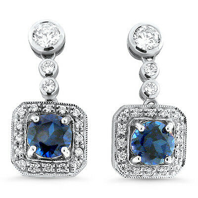 LAB SAPPHIRE ANTIQUE ART DECO DESIGN 925 STERLING SILVER EARRINGS,          #404