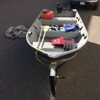 12' Fishing Boat with trailer and 2 motors