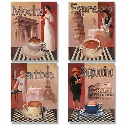 4 Coffee Posters Kitchen Cafe Decor Paris Art Print on Rummage