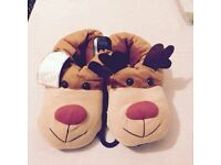 NEW LOOK CHRISTMAS REINDEER SLIPPERS SMALL 3-4 BNWT XMAS GIFT