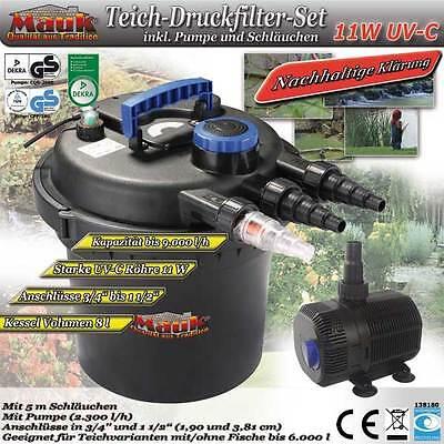 Mauk Teichdruckfilter Set 11 W UVC Teichfilter mit Pumpe + Schläuche #02