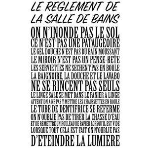 sticker mural texte 034 le reglement de la - Stickers Salle De Bain Texte