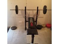 Weight bench & assorted weights