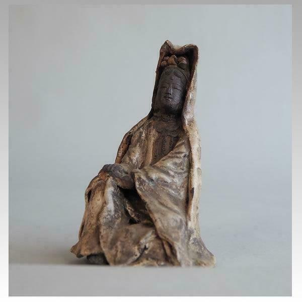 Japanese Old Guan Yin Buddha Maria Kakure - Kirishitan / H 16 [cm] / Edo Period