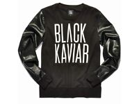 Brand New 'Black Kaviar' Jumper with Leather Sleeves