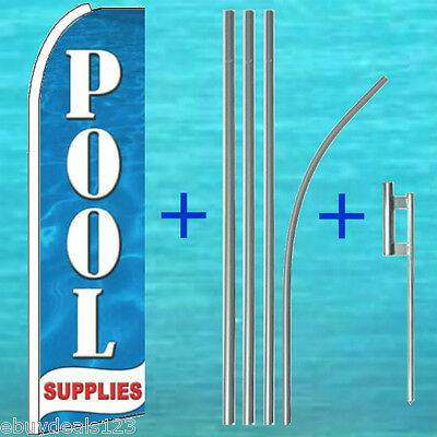 POOL SUPPLIES FLUTTER FEATHER FLAG + POLE +MOUNT Swooper Banner Advertising Sign