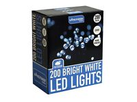 200 Static LED Christmas Lights (choice of 2 colour options - Bright White or Multi Coloured)
