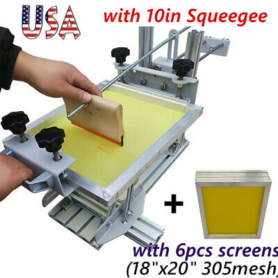 Usa Manual Cylinder Screen Printing Machine With 10 Squeegee And 6pcs Screens