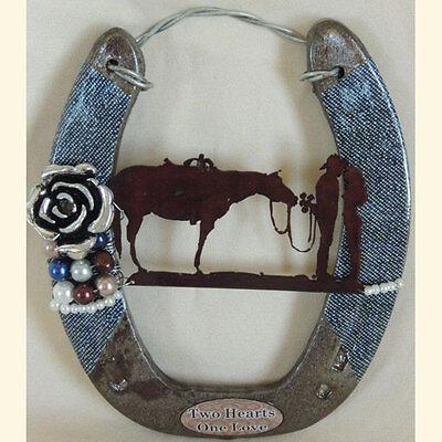 Western Wedding Blue Denim Cowboy Horseshoe Wallhanging & Ringbearer