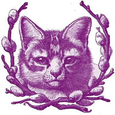 30 Custom Vintage Purple Cat Personalized Address Labels