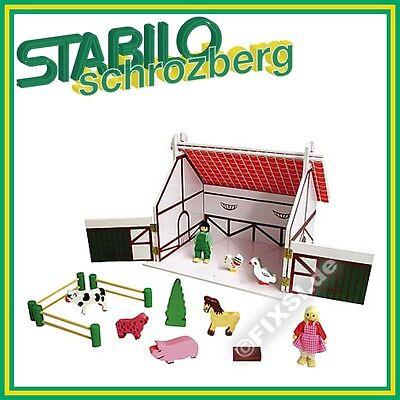 Holz Bauernhof/Hof/Bauern/Farmset mit Puppen Tiere NEU & OVP 910981