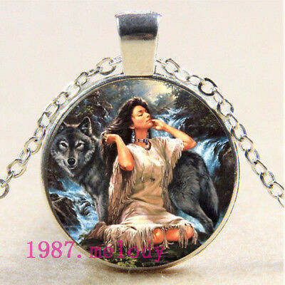 Cabochon Glass necklace Silver charm vintage jewelry(women with wolf)#141