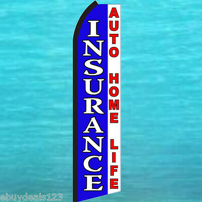 Insurance Auto Home Life Swooper Flag Tall Vertical Sign Flutter Feather Banner