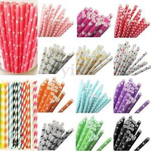 25Pcs-Mix-Rainbow-Paper-Drinking-Straws-Vintage-Wedding-Party-Xmas-Decoration