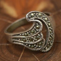 Gorgeous Vintage Marcasite Swirls .925 Silver Ring, Size 7 3/4
