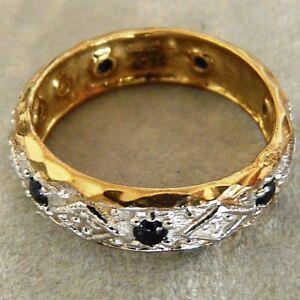 NEW-9ct-Gold-Diamond-Sapphire-Full-Eternity-Ring
