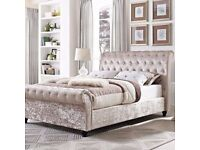 Luxury Sleigh Bed Frame Available with mattress and matching box