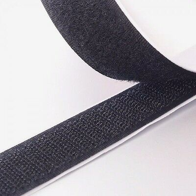 """2"""" Black Self Adhesive Hook and Loop Sticky Adhesive Backed Tape 10 ft. Roll USA"""