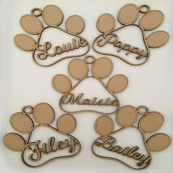 Dog Paw Shaped Baubles - Personalised Names - Christmas ...