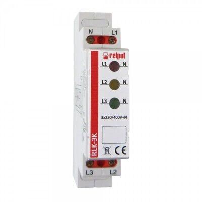 Leuchtmelder 3 Phasen Kontrollleuchte Phasenprüfer LED RLK-3K Relpol 8780