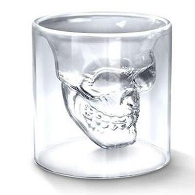 Funny Double Layer Clear Glass Skull Cup Crystal Drinking Bar Ware Shot Glasses