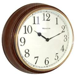 15.5 Round Woodgrain Look Wall Clock 15.5 diam. x 3D in. Off White Dial NEW