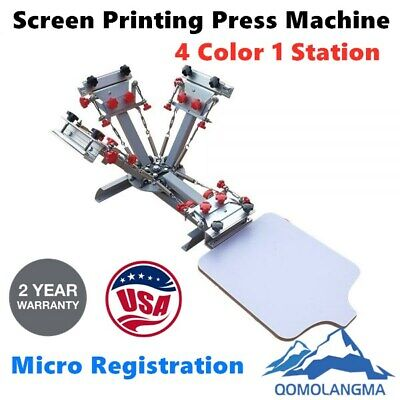 4 Color T-shirt Silk Screen Printing Press Machine With Micro Registration