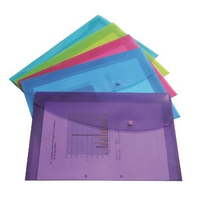 Rapesco Foolscap Assorted Popper Wallet Pack of 5 0688 [HT17015]