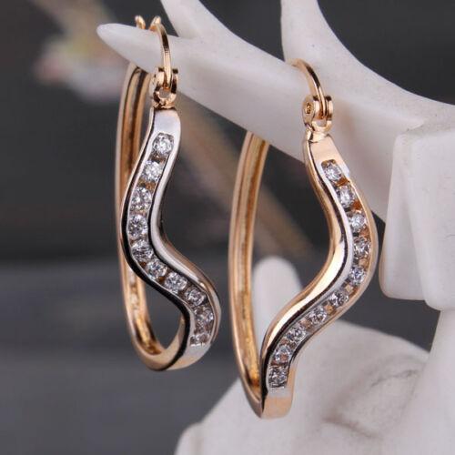 18k gold Platinum filled White Topaz smart lady new Retro wedding hoop earring