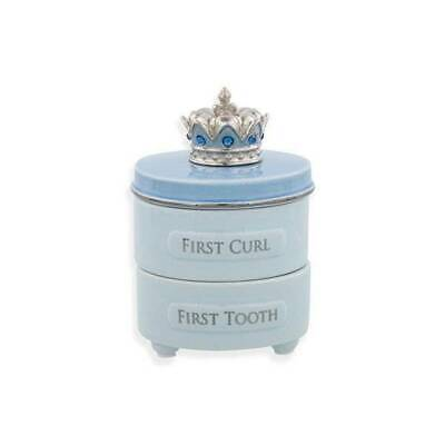 Demdaco First Tooth and Curl Blue Crown Keepsake Box