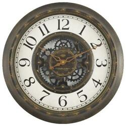 15.5 Gear Wall Clock Aged Bronze Finish Bold Arabic Numerals NEW
