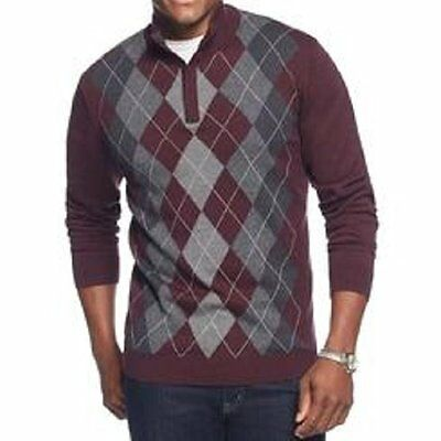Tasso Elba Herren Pullover GRÖSSE M Port Heather Kombination Argyle Mock-Hals ()