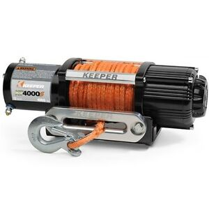 Electric Winch, 4000 lb. Capacity 12 Volt, SyntheticRope KT4000S