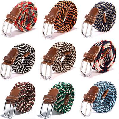 Cotton Elastic Waist Belt - Men Women Stretch Elastic Woven Cotton Canvas Leather Pin Buckle Waist Belt