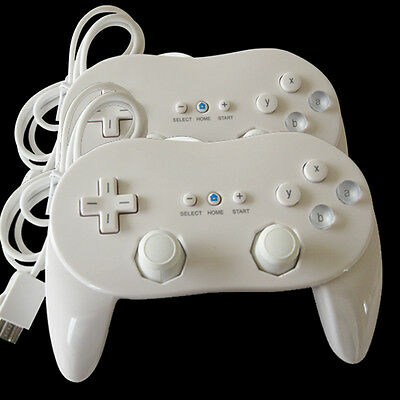 2 Pro Classic Game Controller Pad Console For Nintendo Wii Remote White US Ship